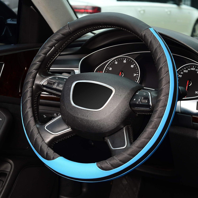 Universal 15 inch KAFEEK Steering Wheel Cover Microfiber Leather,Black Blue