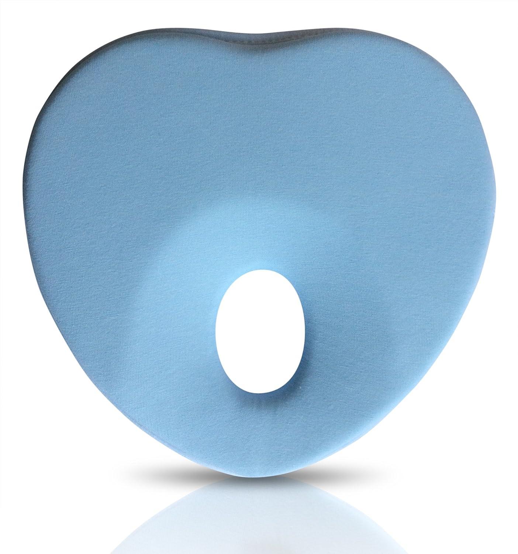 Lexikind Baby-Kopfkissen gegen Plattkopf - Babykissen Plagiozephalie (Herz hellblau)