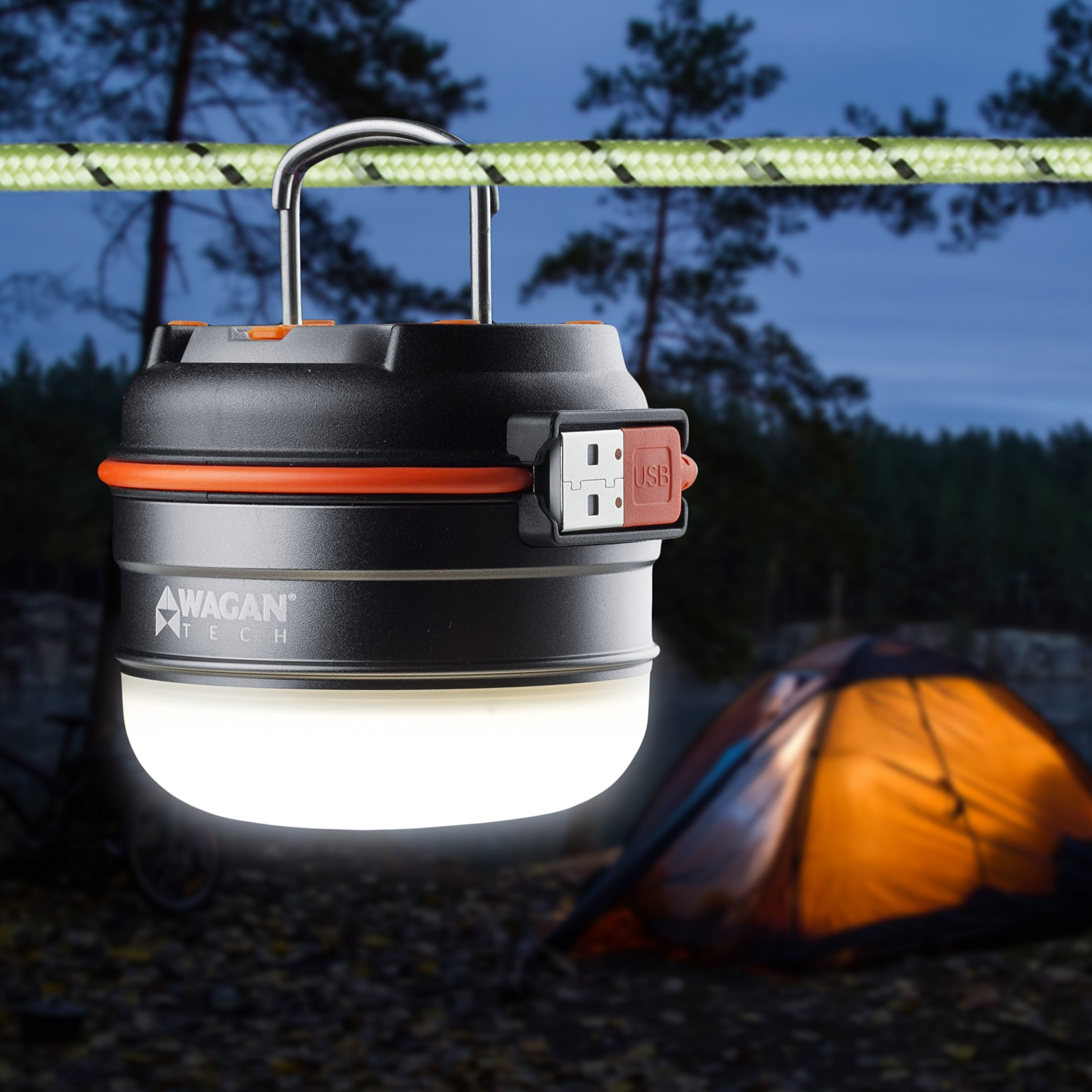 Wagan 4302 Camplites 3000mAh Rechargeable 220lm USB LED Camping Lantern Light Flashlight 2 Hanging Hooks 3 Lighting Options High/Low/SOS for Camping, Hiking, Emergencies, Power Outage by Wagan (Image #3)