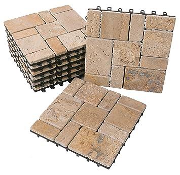 Max Travertine® piedra natural Click suelo azulejos Set 30 x 30 cm Terraza azulejos Roman Stone Terraza Placa baldosas de piedra beige klickfl iesen: ...