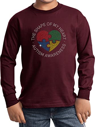 8f17dc35 Buy Cool Shirts Autism Shape Of My Heart Kids Long Sleeve, Athletic Maroon,  Small