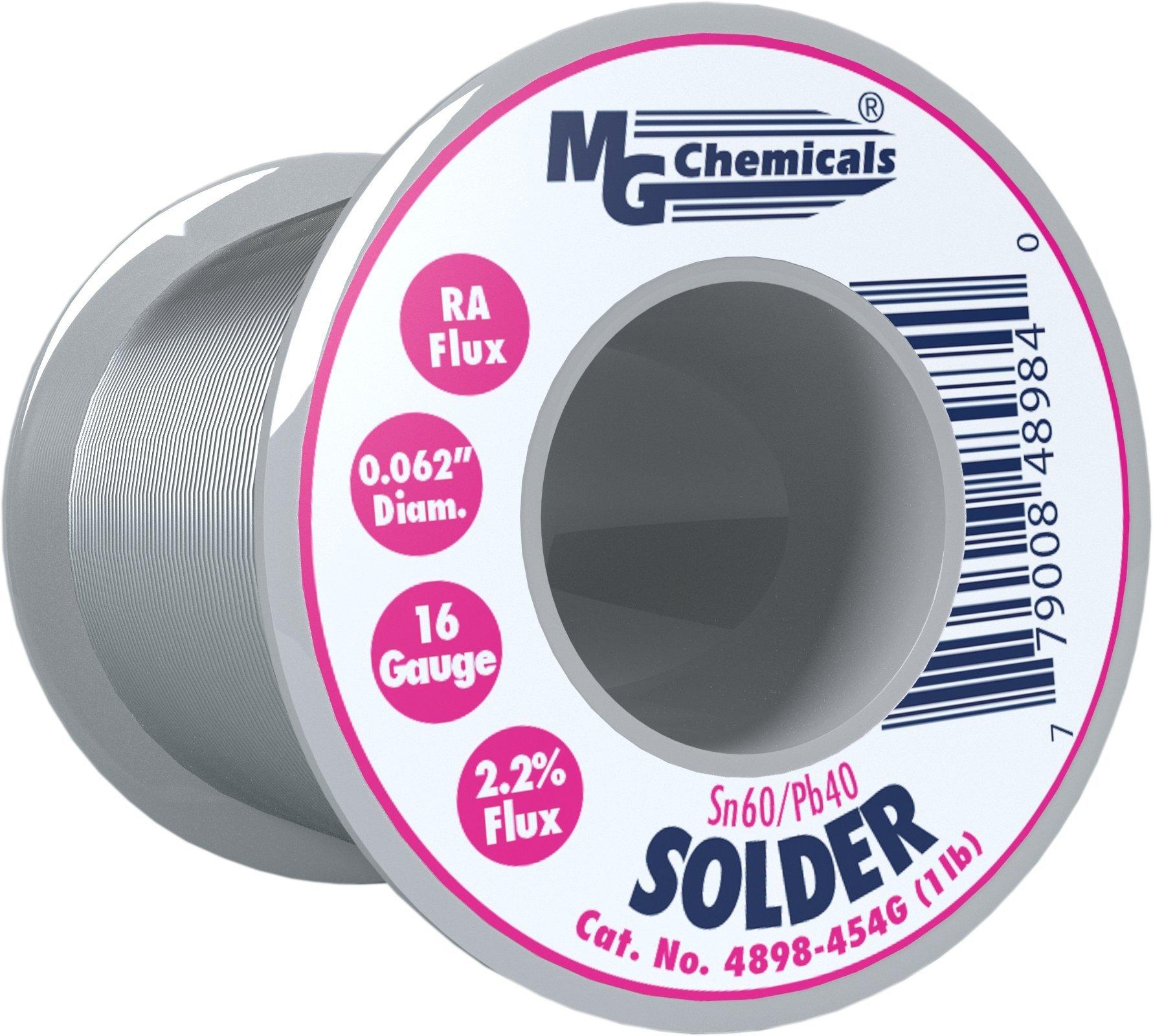 MG Chemicals 60/40 Rosin Core Leaded Solder, 0.062'' Diameter, 1 lbs Spool