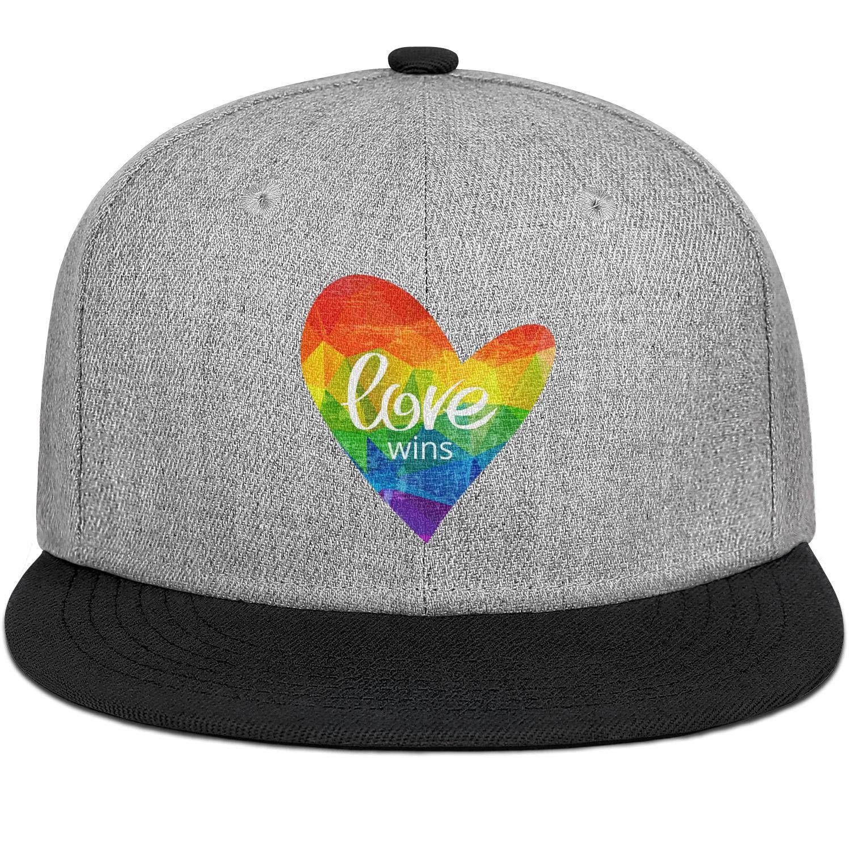 Rainbow Heart Love Gay Pride LGBT Men Womens Wool Trucker Cap Adjustable Snapback Summer Hat