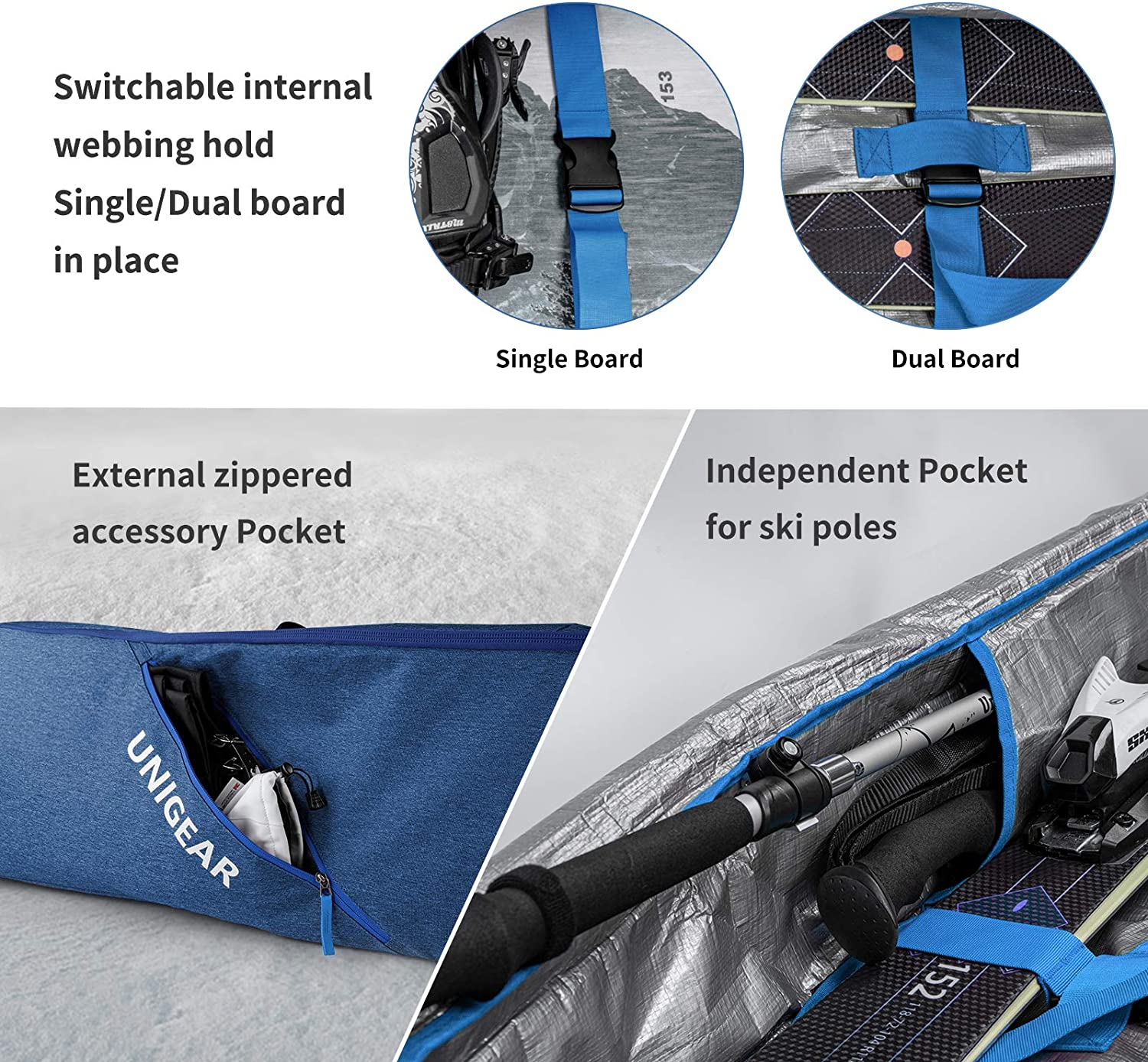 Unigear Ski Bag Snowboard Bag Reinforced Double Padding Bag and Hiking Accessories Goggles Gloves Perfect for Road Trips and Air Plane Travel for Snowboard Ski Outdoor Camping