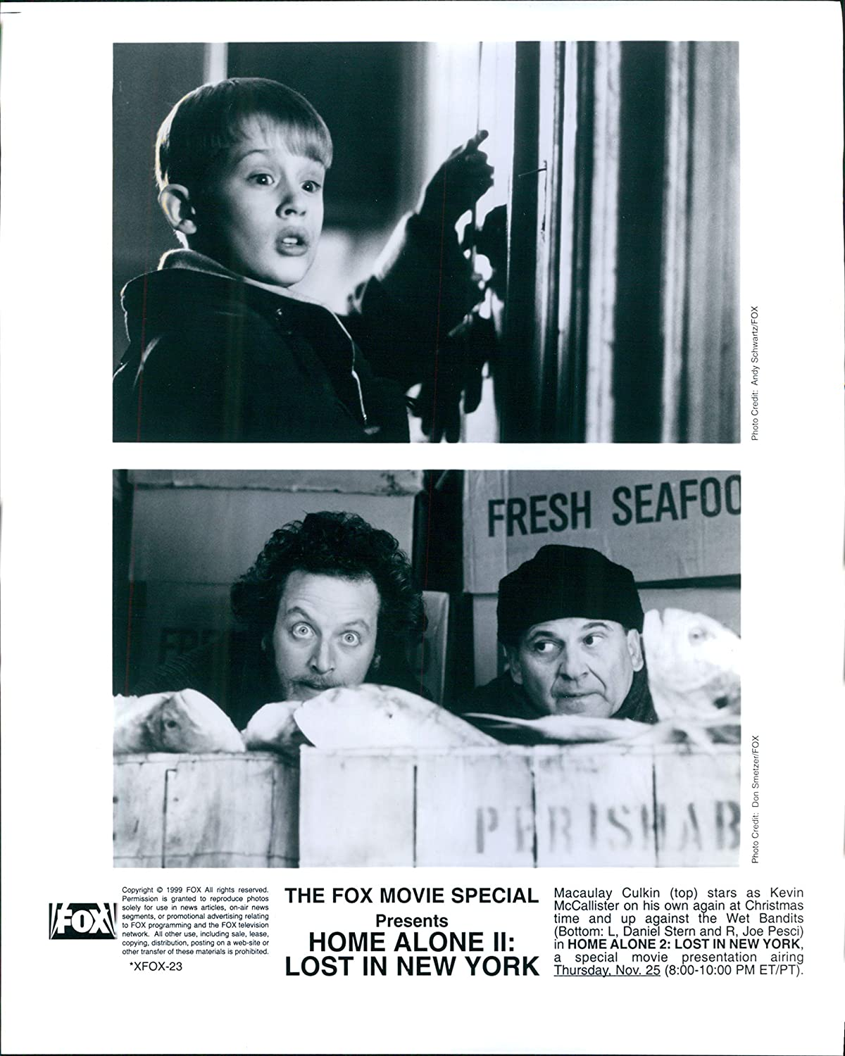Vintage Photos 1999 Promo Actor Home Alone Ii Lost in New York Macaulay Culkin 8X10