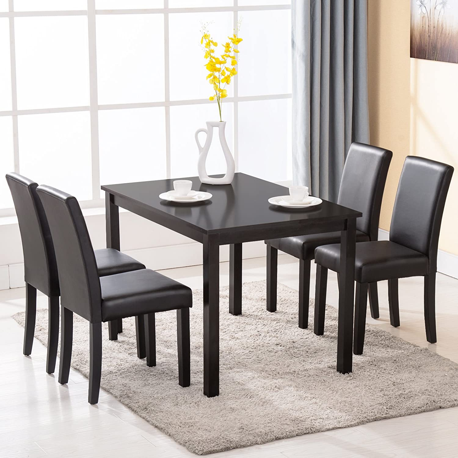 Amazon 4 Family 5 Piece Dining Table Set 4 Chairs Wood