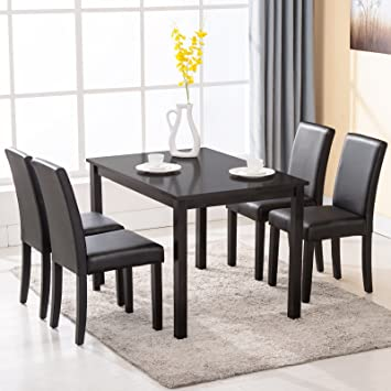 amazoncom 4 family 5 piece dining table set 4 chairs wood kitchen dinette room breakfast furniture table chair sets - Breakfast Table With Chairs