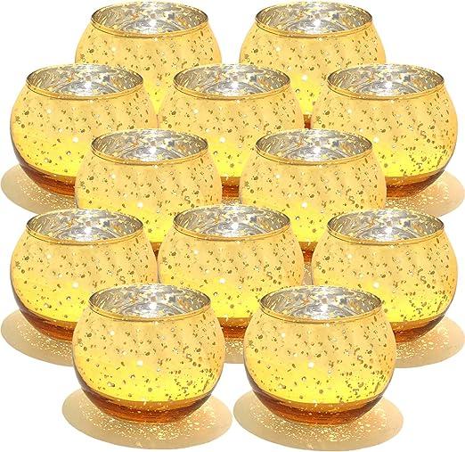 Mercury Glass Tealight Candle H... Volens Round Gold Votive Candle Holders Bulk