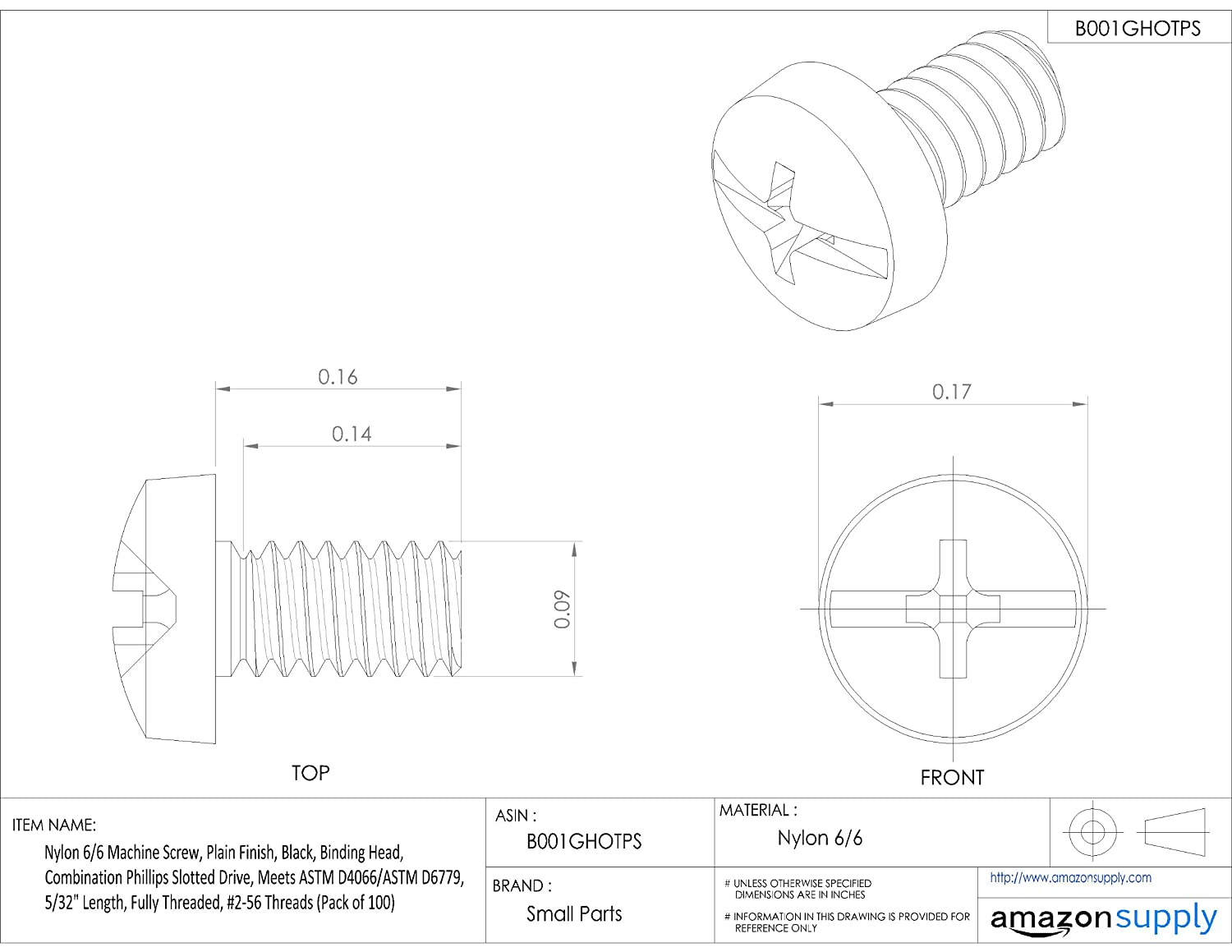 Nylon 6/6 Machine Screw, Plain Finish, Black, Binding Head, Combination Phillips Slotted Drive, Meets ASTM D4066/ASTM D6779, 5/32' Length, Fully Threaded, 2-56 Threads (Pack of 100) 5/32 Length Small Parts Inc 010256CD015B