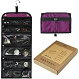 Jaimie Hanging Jewelry Case - Compact Portable Size - Jewelry Organizer for Travel & Home - 23 Zippered Pockets for Storage - Find Earring, Rings, Necklaces With Ease