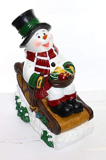 Amazon.com: Muñeco de nieve en trineo con 12 luces LED solar ...