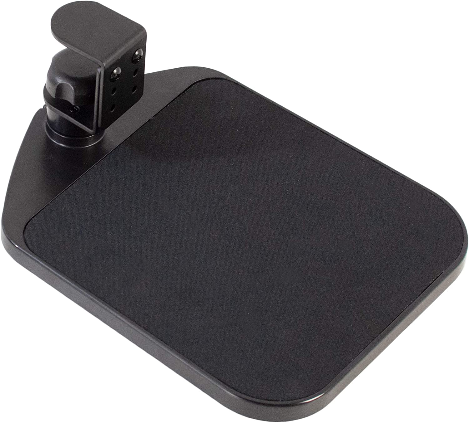 VIVO Black Desk Clamp Adjustable Computer Mouse Pad and Device Holder Extended Rotating Platform Tray | Fits up to 2 inch Desktops (MOUNT-MS01A)