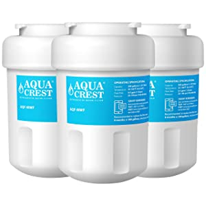 AQUACREST Replacement MWF Refrigerator Water Filter, Compatible with GE MWF SmartWater, MWFA, MWFP, GWF, GWFA, 46-9991, HDX FMG-1, WFC1201, GSE25GSHECSS, PC75009, RWF1060 (Pack of 3)