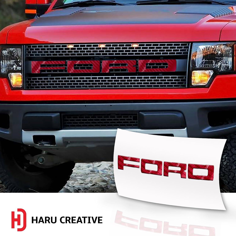 Hood Grille Emblem Letter Overlay Vinyl Decal Compatible Fits Ford F150 F-150 Raptor - Matte Red Haru Creative 2010 2011 2012 2013 2014