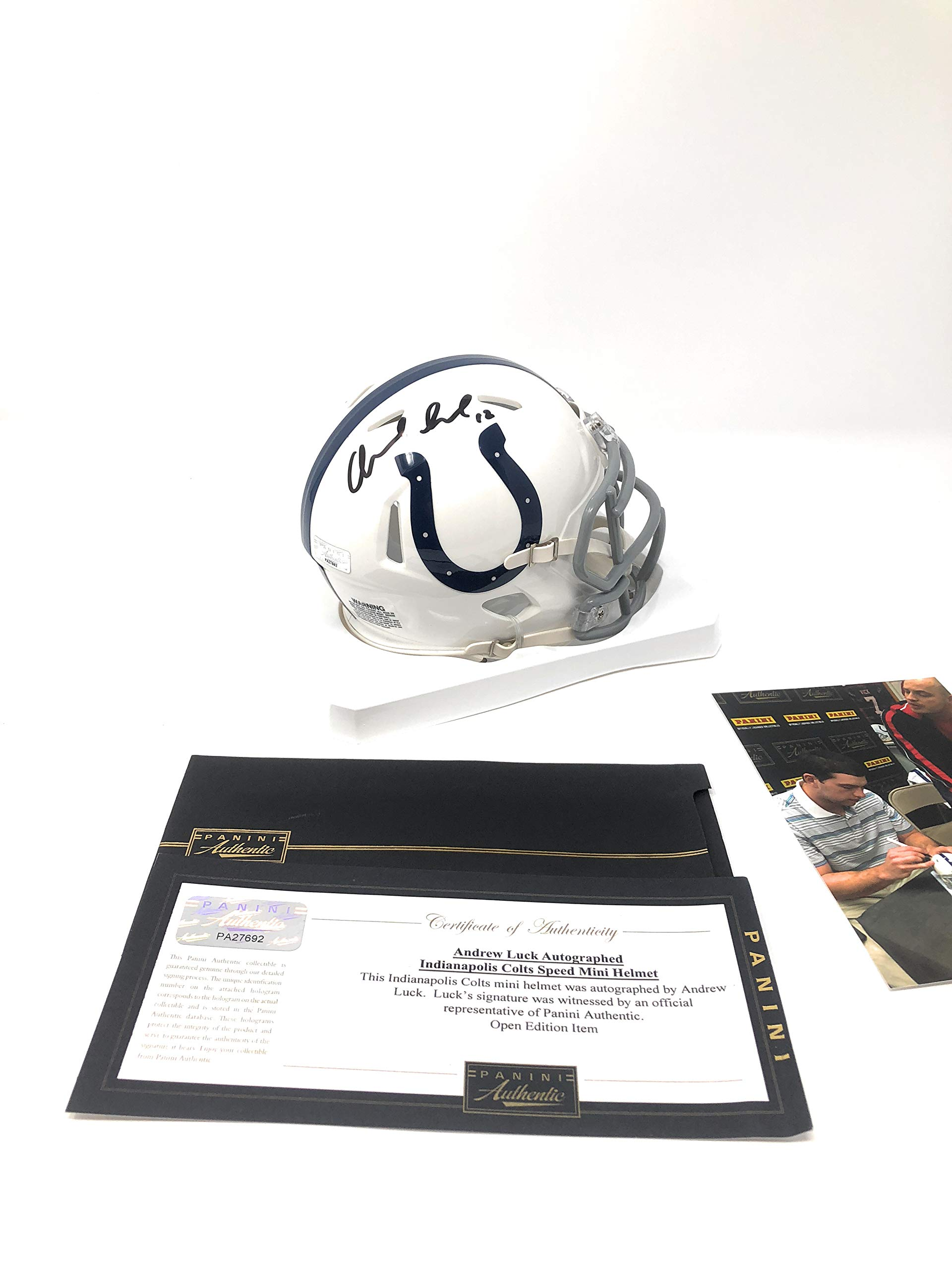 Andrew Luck Indianapolis Colts Signed Autograph Mini Helmet Panini Authentic Certified