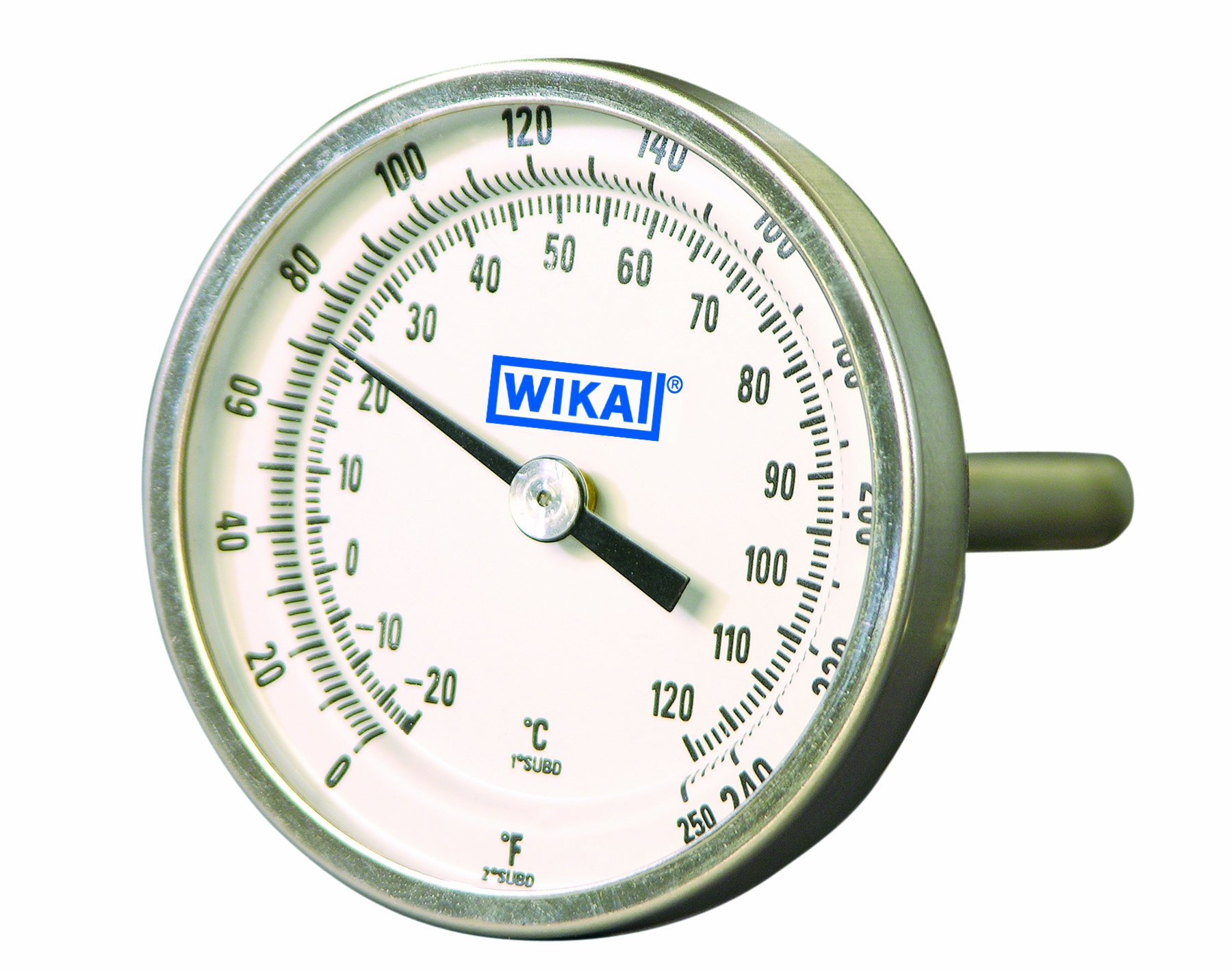 WIKA TI.20 Stainless Steel 304 OEM Industrial Bi-Metal Thermometer, 2'' Dial, 0/250 Degrees F/C, 2-1/2'' Stem, 1/4'' NPT Connection