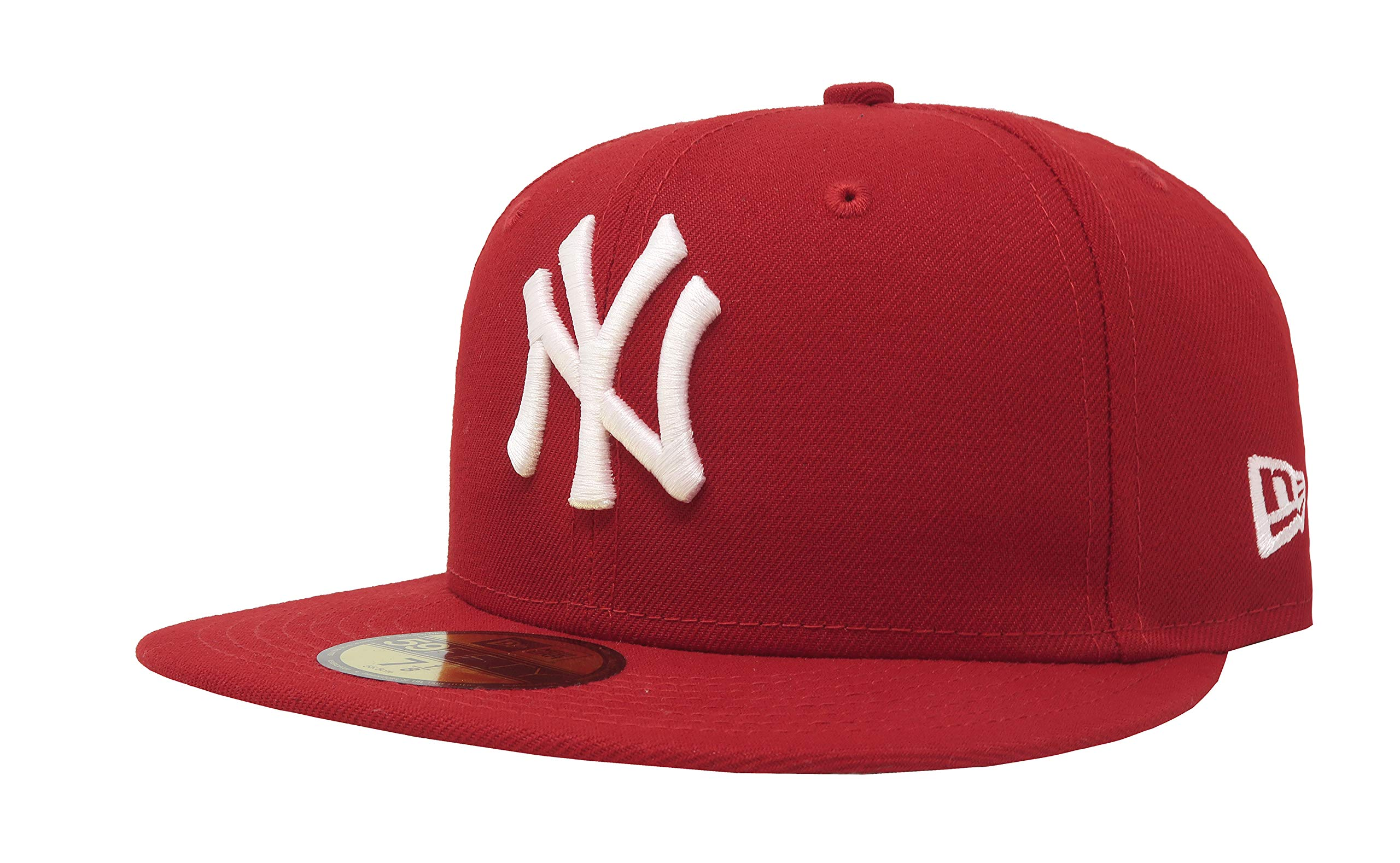 New Era Mens MLB Basic NY Yankees 59fifty Fitted Cap, Scarlet, 7 3/8