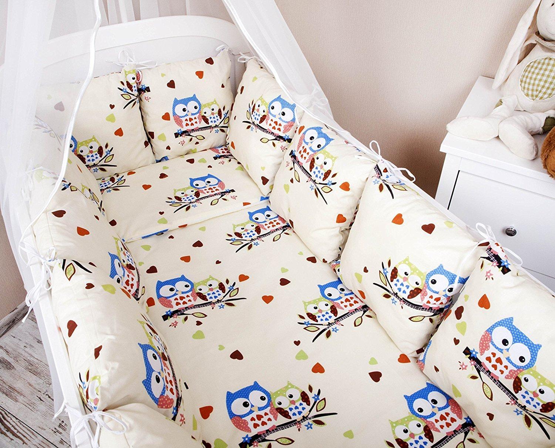 Tour de lit tour de lit b/éb/é 420/cm Design Hibou Ecru//Bleu Grand Tour de lit Protection des Bords Protection de la t/ête pour lit b/éb/é lit /équipement