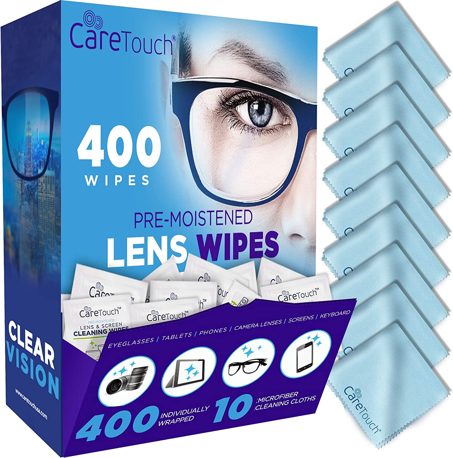 Care Touch Lens Cleaning Wipes with Microfiber Cloths   400 Lens Cleaning Wipes and 10 Microfiber Cloths   Excellent for Glasses, Laptops, Computer Screens, and Phones