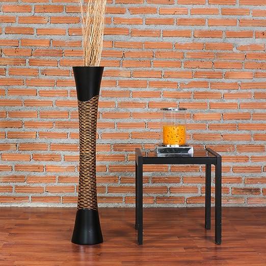 Negro Madera de Mango Leewadee Jarr/ón De Suelo Grande para Ramas Secas Decorativas Florero Alto De Piso Decoraci/ón Casa 75 cm