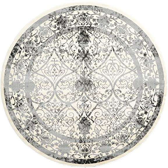 Synthesized Modern and Traditional Design – Ivory, Black, 8 Feet – Round St. Albans Collection Area rug – Vintage Contemporary Living Dining Room – Bedroom Decoration Rugs and Carpets