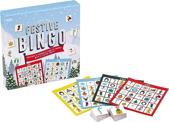 Bingo Festivo – El clásico Juego de Fiesta Familiar de Bingo con un Toque Festivo por el Profesor Puzzle.: Amazon.es: Juguetes y juegos
