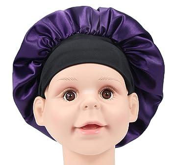 Kids Baby Satin Bonnet Elastic Night Sleeping Hat Wide Band Hat Cap Breathable