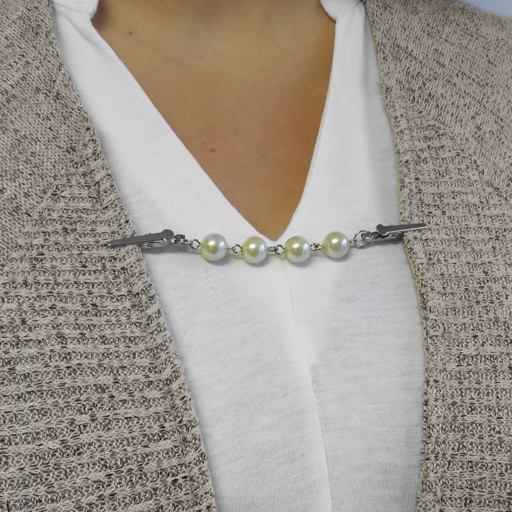 Styles Evelots Sweater Collar Slim Clips-Large Pearls-Shawl//Vest//Blouse-Asst