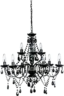 Jet black chandelier crystal lighting 30x28 amazon the original gypsy color extra large 9 light black chandelier h26 w27 black mozeypictures Image collections
