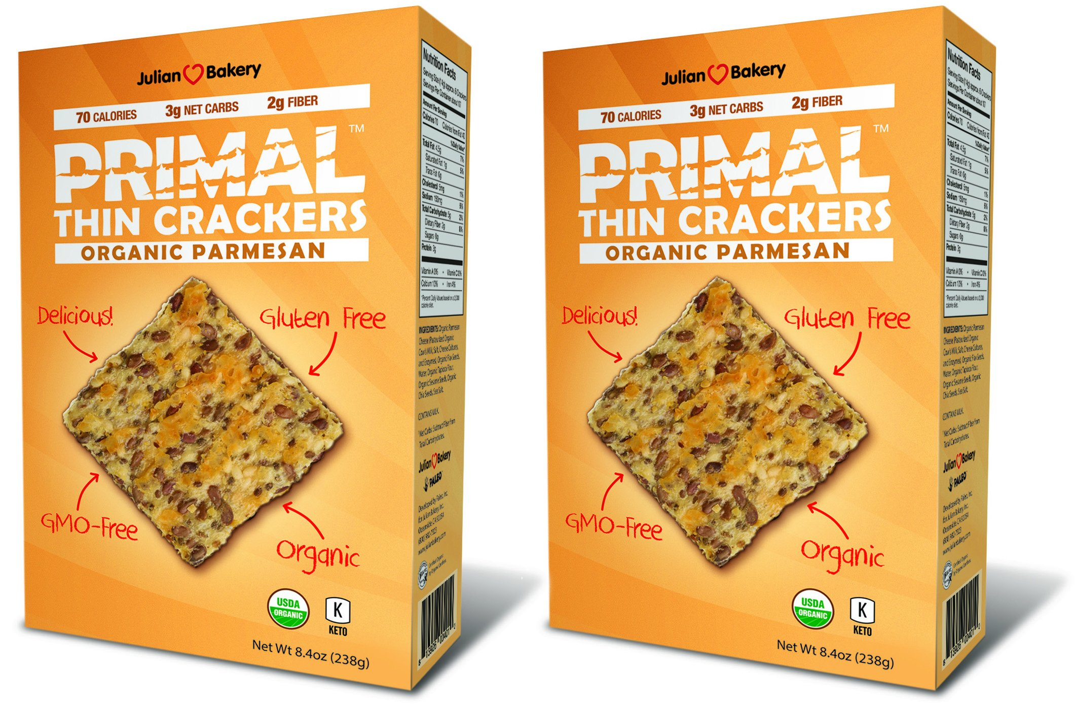 Primal Thin Crackers (Organic) (2 Pack) (Low Carb, Gluten-Free, Grain-Free) (Organic Parmesan) by Julian Bakery