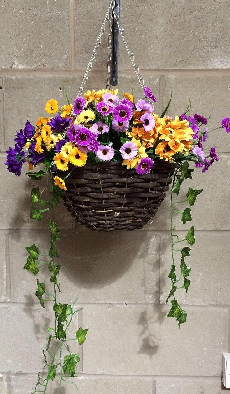 Artificial Flowers Hanging Basket / Outdoor, Purple And Orange, Basket and Bark Eternal Bloom