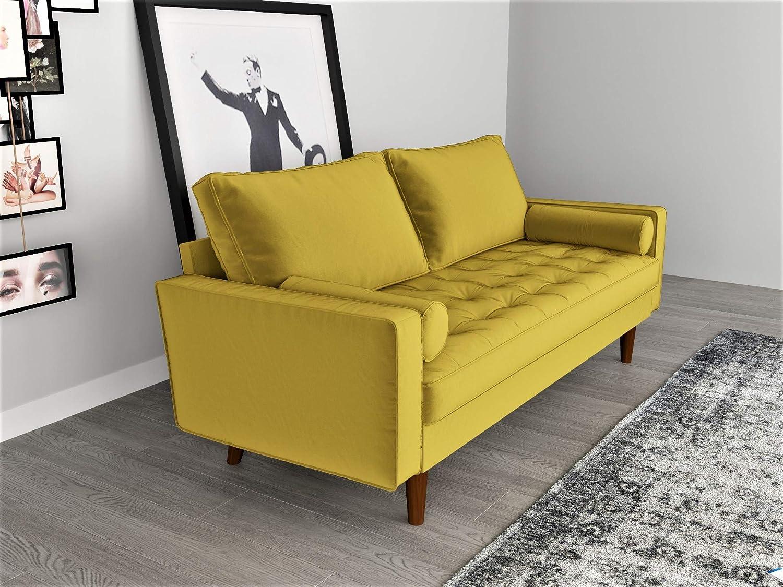 57.87 Container Furniture Direct S5459-L S5459 Mid Century Modern Velvet Upholstered Tufted Living Room Loveseat Goldenrod