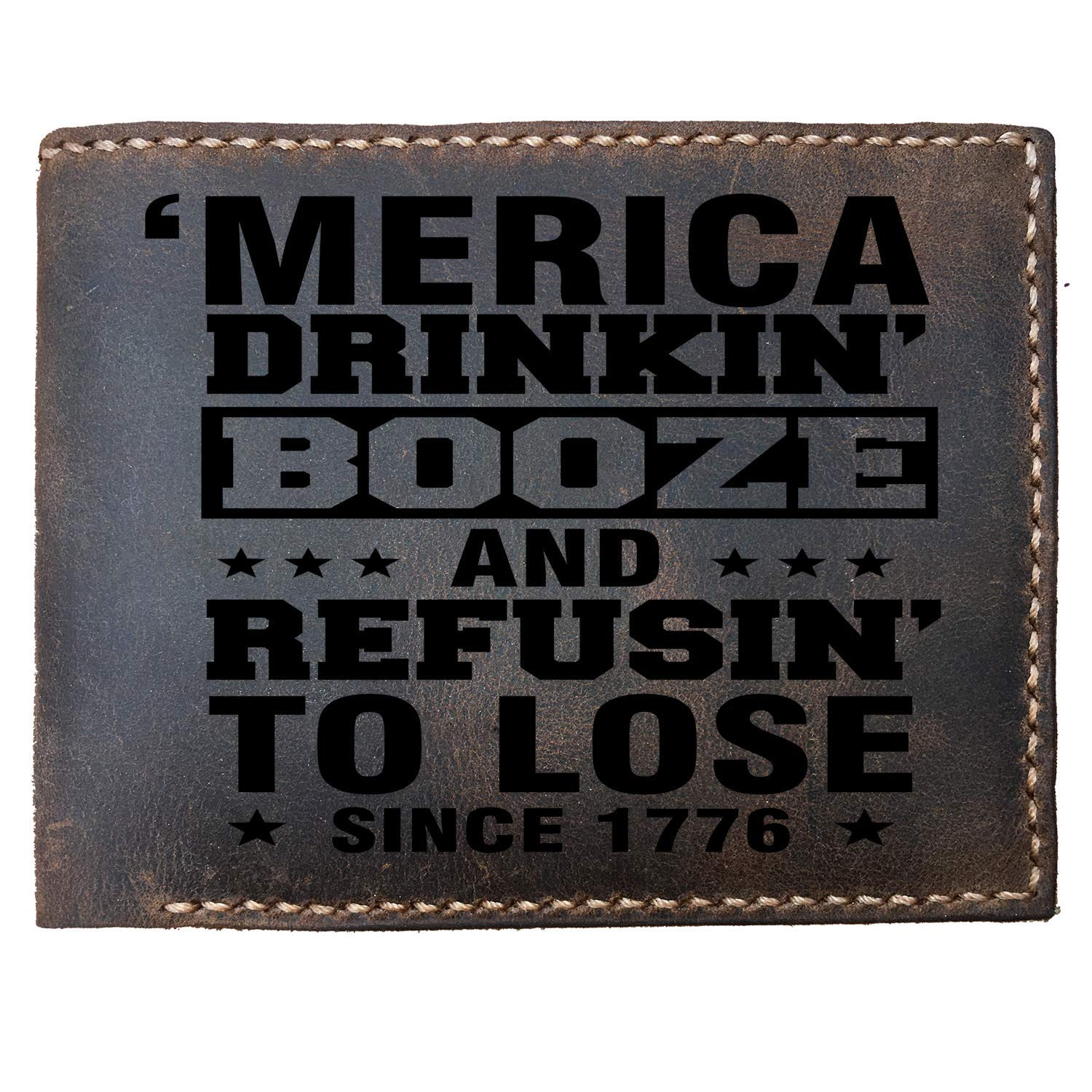 StenchSword America drinking booze refuse to lose funny Custom Laser Engraved Leather Bifold Wallet for Men