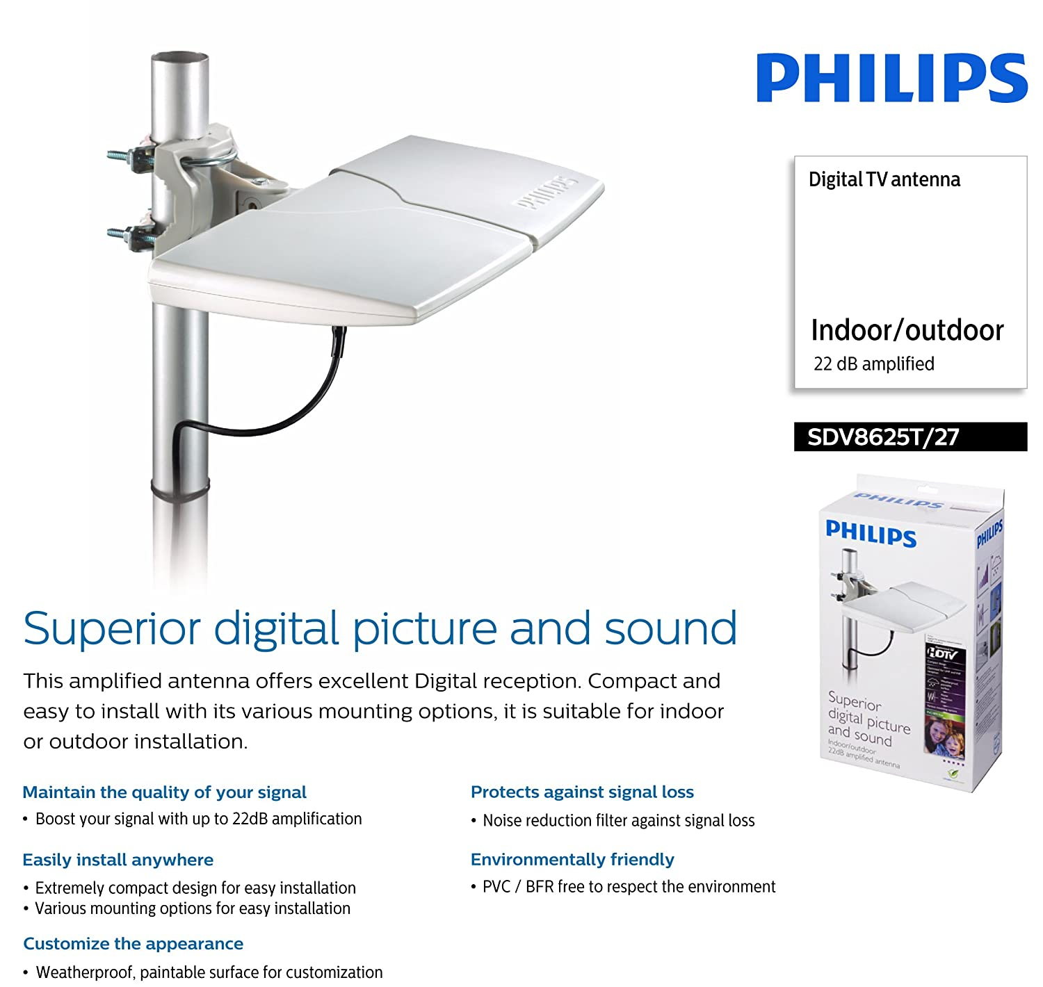 Amazon.com: Philips SDV8625T/27 Indoor/outdoor 22 dB amplified Digital TV antenna: Home Audio & Theater
