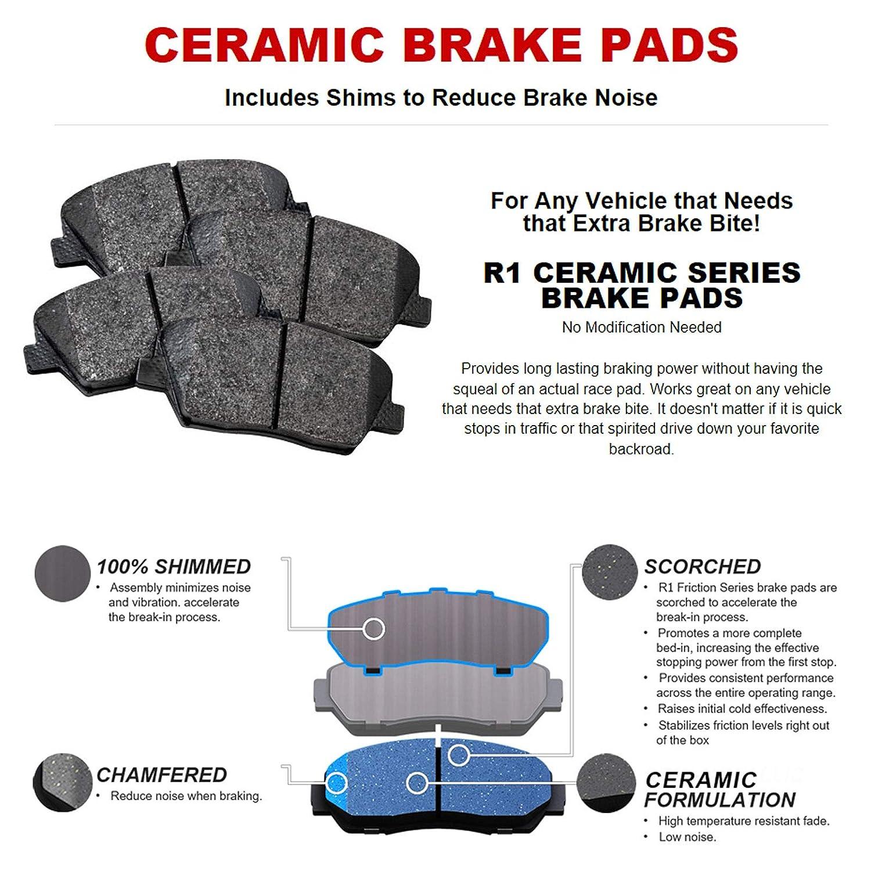 ZDX Front Rear Blank Brake Rotors+Ceramic Pads For Acura Pilot Honda MDX