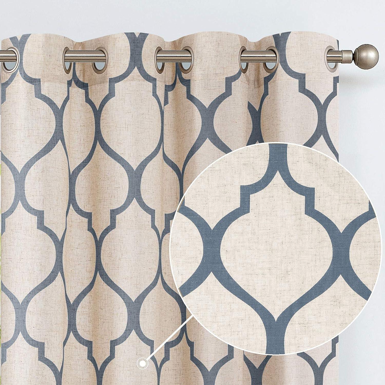 jinchan Printed Curtain Moroccan Tile Linen Textured Drapes Panels Bedroom Living Room Lattice Window Treatment 2 Panel Drapes 90 inches Long Blue