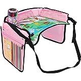 KIPTOP Rücksitz Auto Organisator für Baby-Spaziergänger & Kind-Spielraum-Zusätze, iPad / Tablette-Halter, Nasse Wischtücher Gewebe-Fach Stretchy Speicher-Taschen. Kick-Mat Sitzrückenprotektor