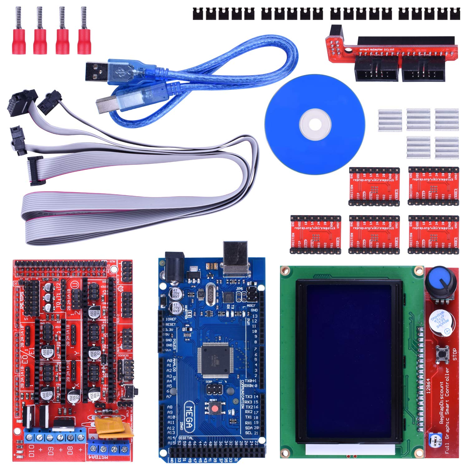 3d Printer Controller Kit For Arduino Mega 2560 Uno R3 Diy Connections Of Ramps 1 4 Starter Kits 14 With Upgraded Mosfet 5pcs A4988 Stepper Motor Driver Lcd