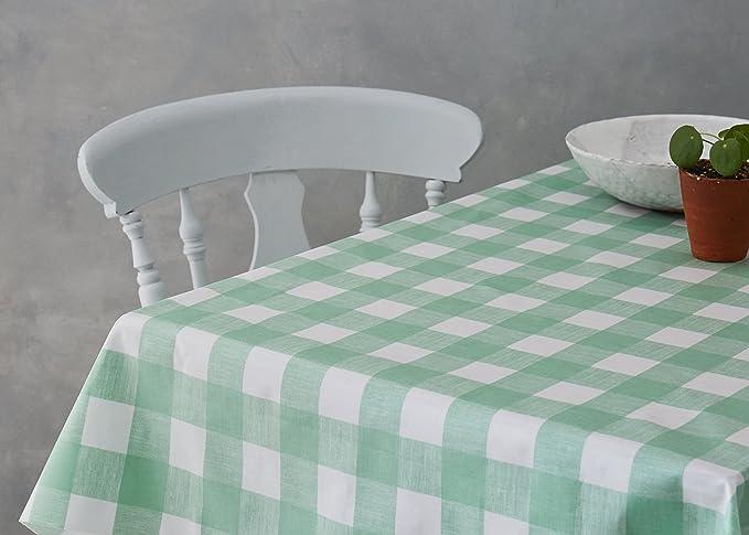 Vinylla Motif vichy Toile cir/ée Rev/êtement int/érieur en coton Couleur citron vert Dia.140 cm Round Facile /à nettoyer
