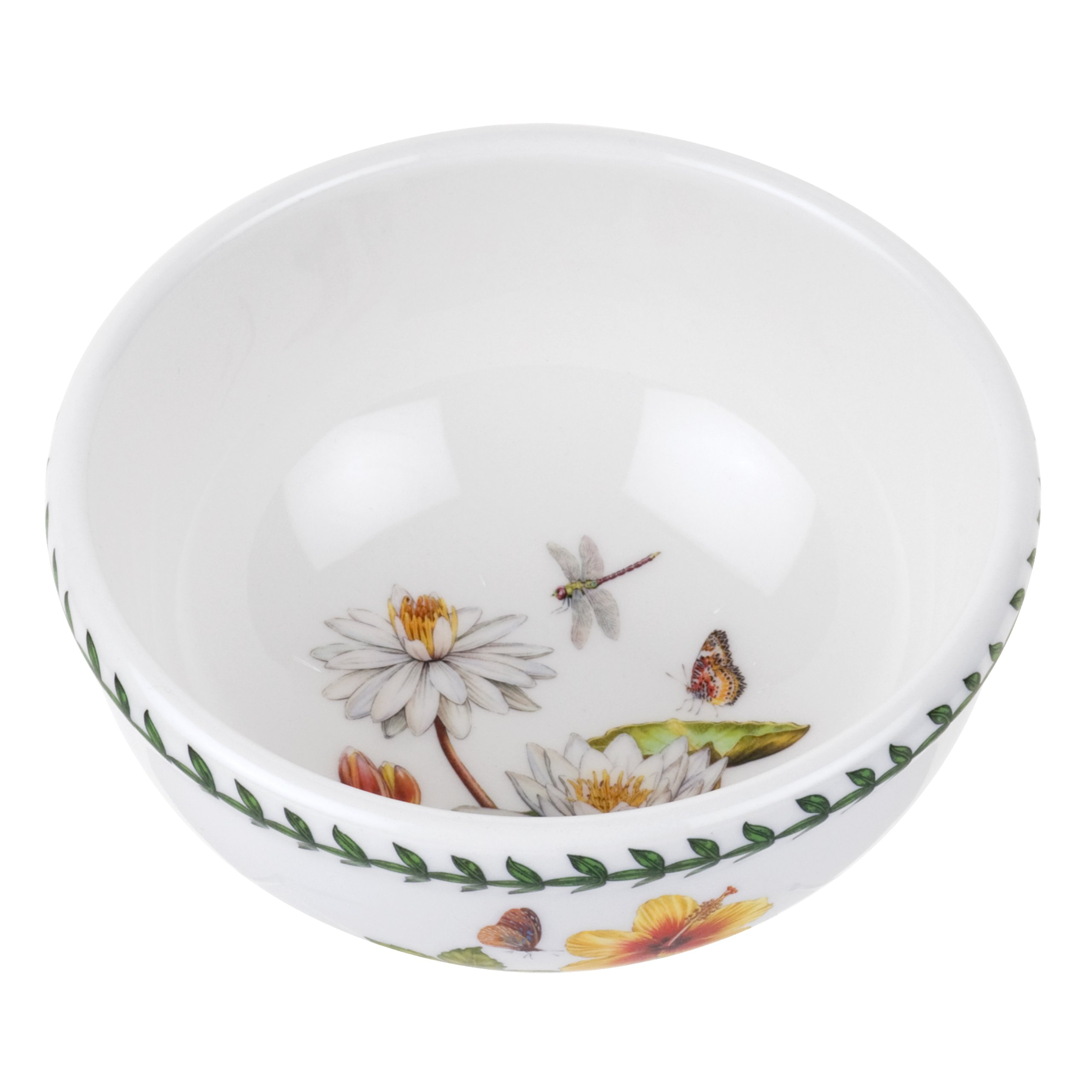 Portmeirion Exotic Botanic Garden Individual Fruit Salad Bowl with White Water Lily, Set of 6