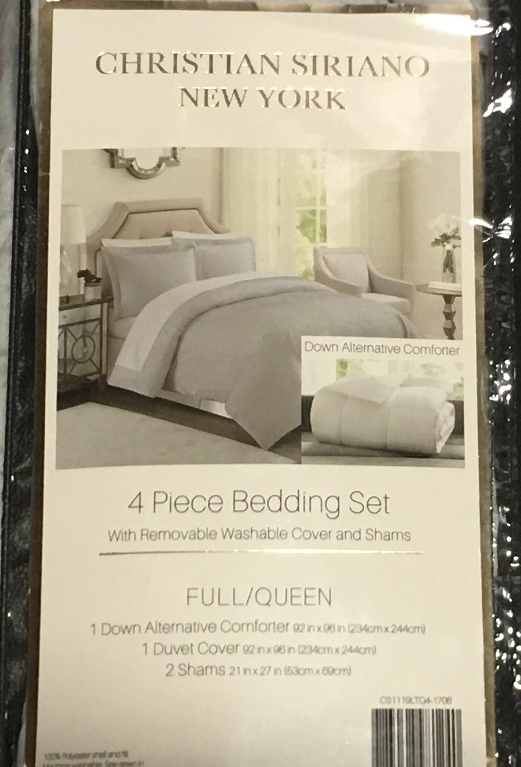 Christian Siriano Down-Alternative 4-Piece Comforter Set Full/Queen - Gray by Christian Siriano