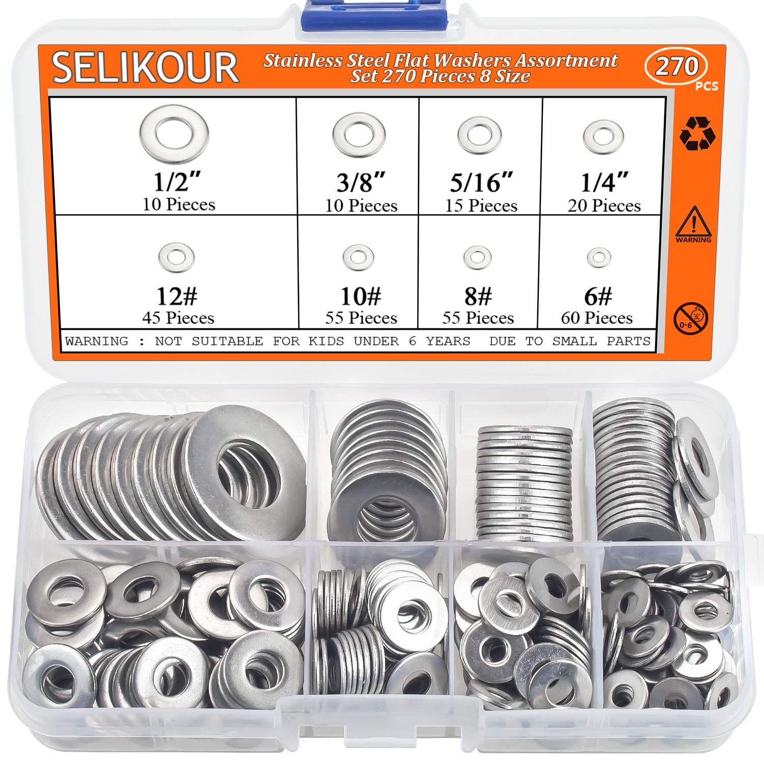 SELIKOUR 270Pcs 8 Sizes Stainless Steel Flat Washers Assortment Kit, 1/2 3/8 5/16 1/4 12# 10# 8# 6# by SELIKOUR