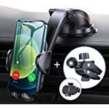 Sturdy Car Phone Holder with Upgraded Strong Suction Cup and Stable Screw Locking Vent Clip Never Fall, Anwas No Block Design