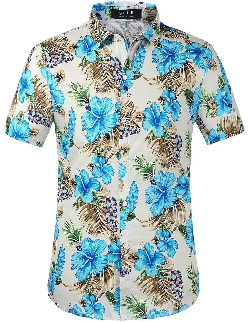 SSLR Men's Button Down Causal Short Sleeve Aloha Hawaiian Shirts AFD168-58/59/66-ca SN-AFD168-58/59/66