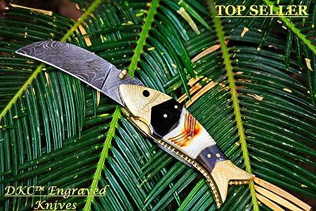 DKC Knives Sale 29 5 18 DKC-139 Tiger Fish Bass Trout Fishing Pocket Folding Damascus Hunting Knife Brass Bone Folded 7.7oz Great Fisherman Gift Bass Fishing Work of Art FISHANA Series