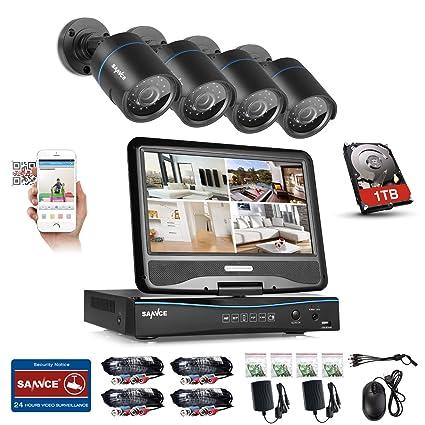 SANNCE Kits de 4 cámaras de vigilancia sistema de seguridad con monitor de 10.1 pulgadas(