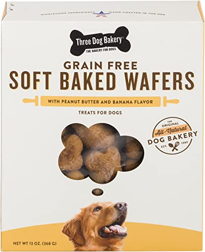 Three Dog Bakery Grain Free Wafers Baked Dog Treats, 13 Oz
