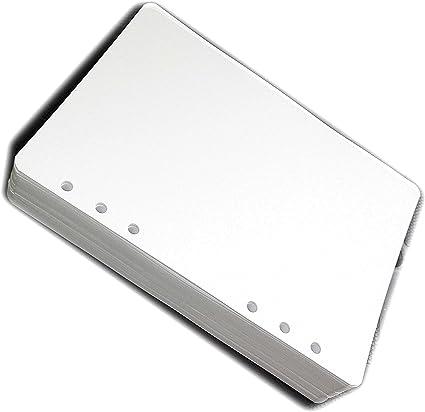 200 fogli a puntini carta bianca ricambio//ricarica per agenda organizerformato A5 con 6 anelli 14x20cm