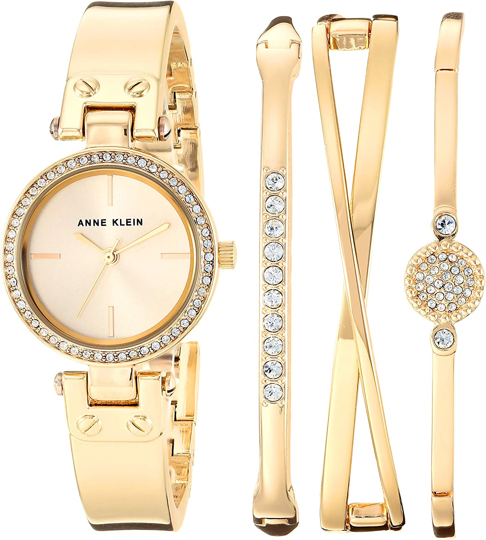 Anne Klein Women s Swarovski Crystal Accented Watch and Bangle Set, AK 3368