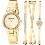 Anne Klein Women's Swarovski Crystal Accented Watch and Bangle Set, AK/3368